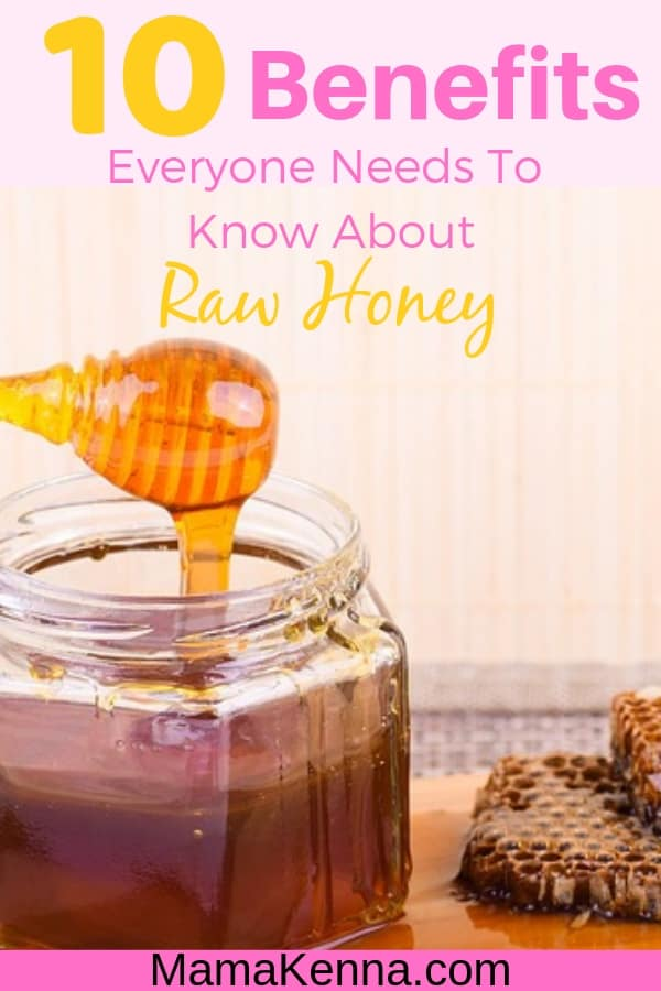 Pinterest 10 Benefits Everyone Needs to Know About Raw Honey. With a honey jar and honeycomb.