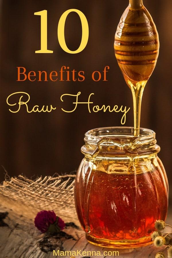 pinterest 10 benefits of raw honey. Honey in a honey jar.