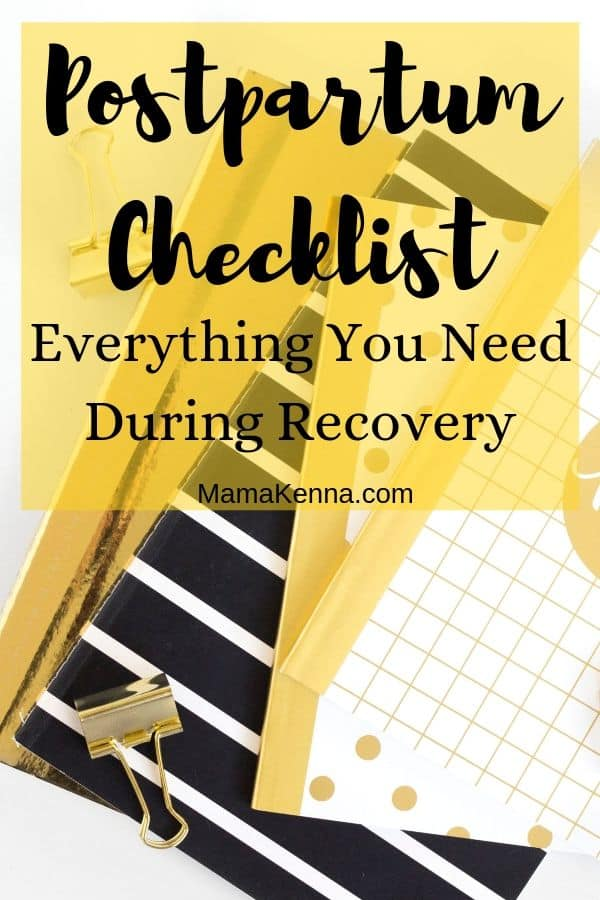 Postpartum Checklist everything you need during recovery pinterest